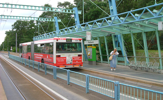Combined BRT- and tram-right-of-way in Oberhausen, Germany 2003.