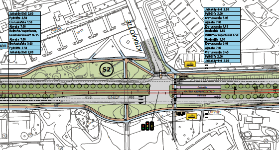 An example of a street area plan for the Turku tramway.