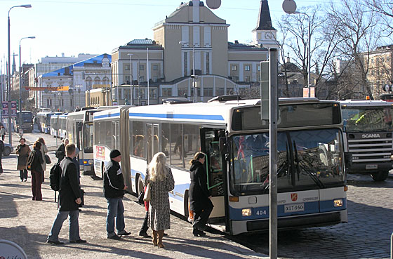 Line of buses on Hämeenkatu in Tampere in 2004.